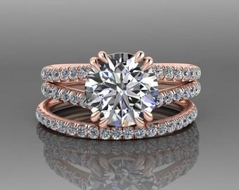 Rose Gold Forever One Moissanite Engagement Ring Set, Natural Diamond Wedding Set, Split Shank Round Moissanite Bridal Set / RE00183R