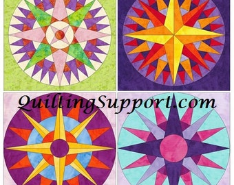 Compass Set 15 Inch Block Set of 4 Paper Piece Template Quilting Block Patterns PDF