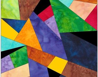 Complex Crazy Patch 7 Paper Foundation Piece Quilting Block Pattern PDF
