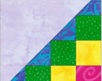 Half Checkerboard 4 Paper Piece Templates Quilting Block Pattern PDF