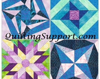Star Set of 4 Paper Piece Template Quilting Block Patterns Set 7 PDF