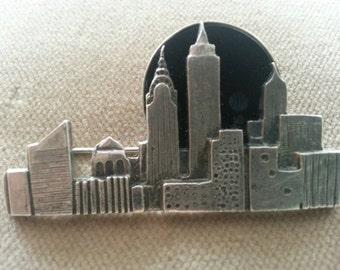 Vintage Sterling New York City Skyline Brooch, GFMW NYC Skyline Brooch