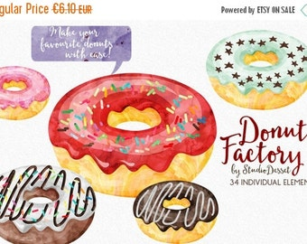 30% OFF SALE Watercolor Donut Cliparts, Doughnut Clip Art, Birthday Cliparts, Sprinkles and Frosting, Watercolor Pastry, Birthday Party C346