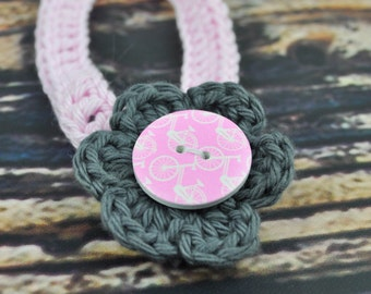 Baby Headband - Pink and Grey - Bicycle