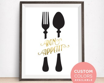 Bon Appetit Kitchen Printable Art | Fork and Spoon Wall Art | Kitchen Quote | Kitchen Sign | Kitchen Art Print | Dining Room Wall Art |