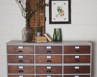 Newly Refurbished Rare Silky Oak Industrial Sideboard Dresser Cabinet Solid Wood