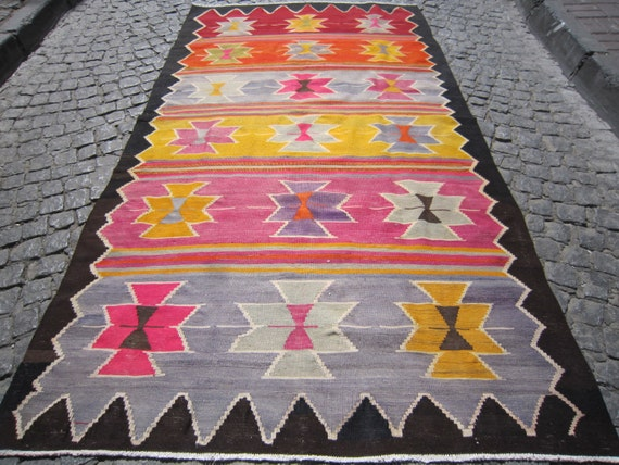 Old Handmade Kilim 9'1x5' feet (277x153) cm. free shipping,Anatolian rug, Turkish kilim,Home decor, Old kilim rug, wool kilim rug Vintage
