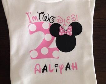 I'm twodoles birthday minnie t-shirt in bubble gum pink