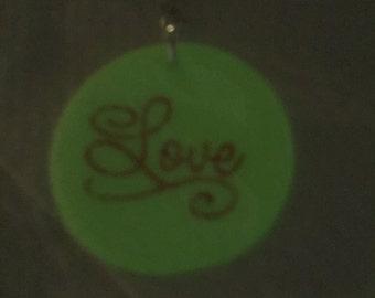 Glow In The Dark Love Pendant Necklace