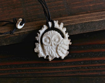 Barred Owl Inspired Pendant - Carved from Antler - Double Hemp String Necklace with Antler Fasting