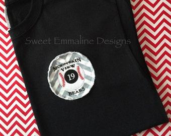 Raggy Baseball or Softball Applique Spirit Wear Tee-Short Sleeve T-shirt – Custom Spirit Wear Personalized Baseball or Softball Tshirt