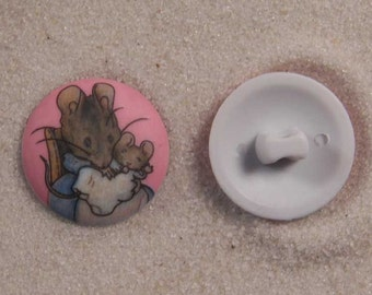 "Set of 6 JHB Intl Beatrix Potter Hunca Munca Mouse Plastic Buttons 11/16"" 18 mm lyk0020"