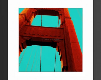 Golden Gate 8x8, 10x10 and 12x12 Photo Print, California Photography, Travel, Bridge, Red Decor, Art Deco, Bridge, Turquoise, San Francisco