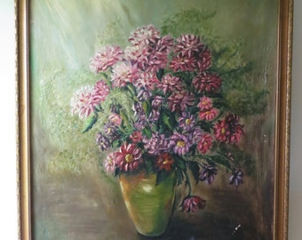 Vintage Floral Framed Oil Painting on Canvas Art - Pink Purple Flowers - Large