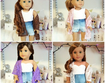 18 inch doll lace kimono: brown, pink, purple, white