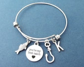 You're my best catch, Finsh, Hooked on you, Fishing, Hook, Heart, Personalized, Letter, Initial, Bangle, Bracelet, Friends, Gift, Jewelry