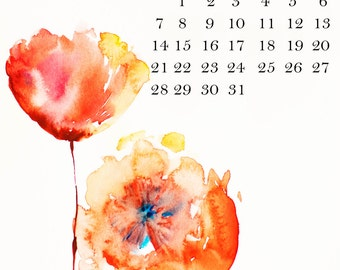 50% OFF!!!2016 FLORAL WATERCOLOR desk calendar
