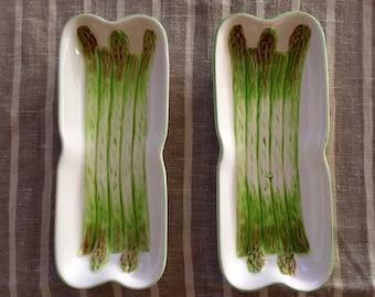 Pair of Vintage Asparagus Plates