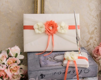 Wedding Guest Book with Pen Holder, Ivory and Coral Wedding Guest Book, Coral Guest Book, Coral Wedding Accessories