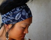 Navy knit headband - navy yoga headband - fitness headband - navy running headband - workout headband - boho wide headband - 5 inch width