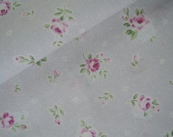 "Fat Quarter of 2015 Lecien Princess Rose Small Roses in Pastel Gray.  Approx. 18"" x 22""  Made in Japan"
