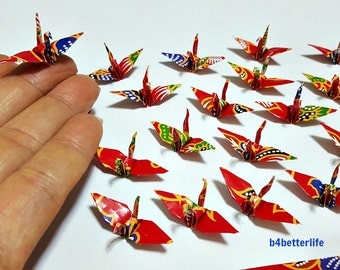 "100pcs Multi-colored 1.5"" Origami Cranes Hand-folded From 1.5""x1.5"" Square Paper. (WR paper series). #FC15-44."