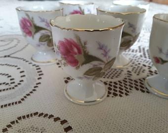 Vintage Moss rose shabby chic rare elegant egg cups , set of six