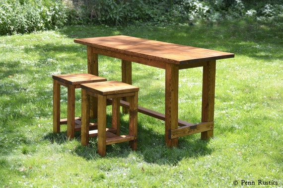 Rustic Farmhouse Counter Height Table with Two Stool Set