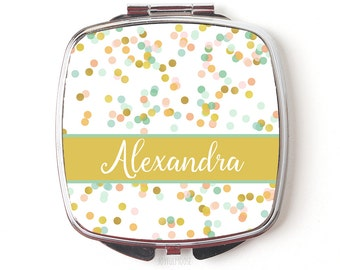 Custom Bridesmaids Gifts - Personalized Compact Mirror - Gold Coral Mint Wedding - Personalized Bridesmaids Gifts