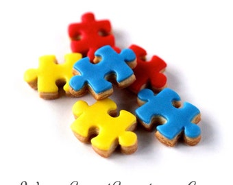 2 Dz. Mini Puzzle Piece Cookies! Favors, parties, birthdays and showers!