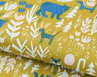 Lions Tigers and Bears Gold- Lore, Cloud 9 Fabrics, Certified Organic Cotton Fabric, Quilting Weight