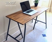 36x20 Hand-Finished Wood Desk on Ikea Trestle Legs. *NOTE: Larger size shown in photos as example. Click Item Details for Info