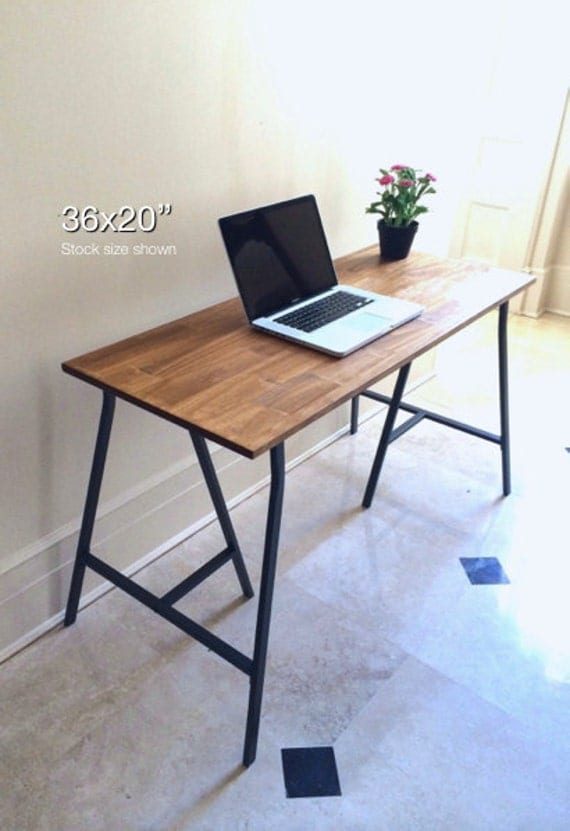 36x20 hand finished wood desk on ikea trestle by goldenrulenyc. Black Bedroom Furniture Sets. Home Design Ideas
