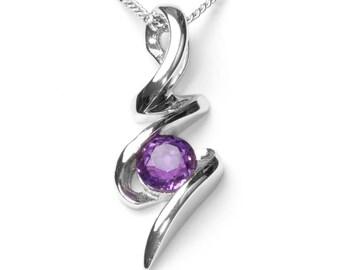 Purple Amethyst Squiggle Pendant, Sterling Silver Purple Amethyst Pendant, 925 Silver Pendant, Amethyst Jewelry, GemstoneJewelry, UK Seller