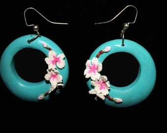 Flowered Turquoise Earrings -  turquoise earrings, blue earrings, gift under 20