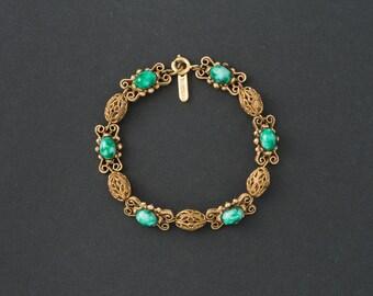 Vintage Florenza Bracelet Jade Art  Glass and Gold filigree Beads