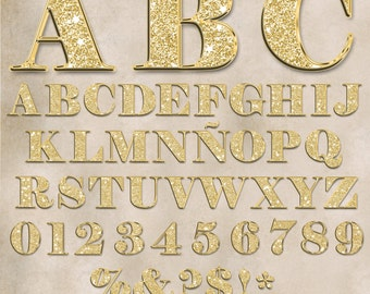 "43 Clipart / Upper cases ,numbers & symbols  /Gold glitter alphabet / 4""x4"" / Transparent background / PNG+PDF(JPG) /High quality(300 ppi)."