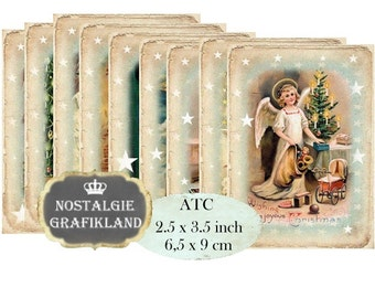 Christmas Angels Instant Download ATC digital collage sheet S108 Vintage Christmas Xmas Angel Deer