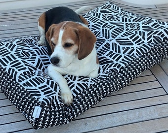 Ripley dog bed in Black and White -  small, medium, large .  Machine washable pet bed