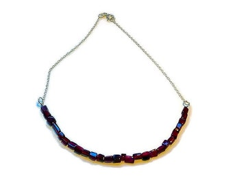rectangle garnet bead necklace