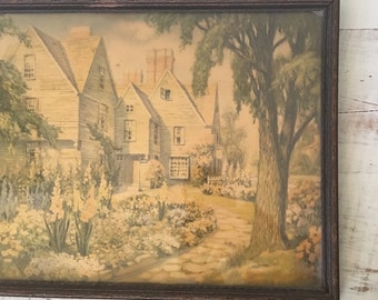 Vintage Cottage House Picture Frame Wall Art