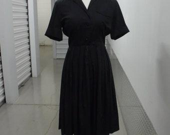 50s Black Button Up Collar Dress