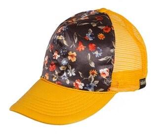 Trucker hat, Custom Trucker Hat, baseball, hat, custom, cap, yellow, floral, Sonrise, cap, unisex, snapback, women's hat, men's hat, colony