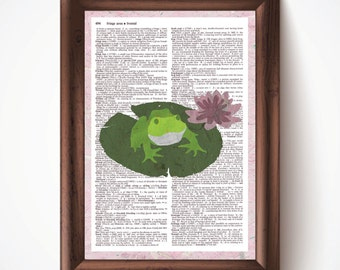 Frog Defined Dictionary Page Print from Pastel Drawing