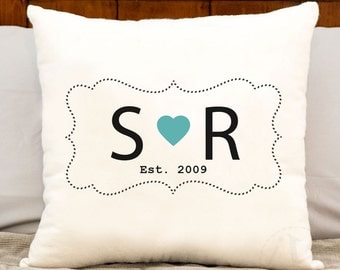 2nd anniversary cotton gift, personalized gift, custom initial print, anniversary gift on cotton, monogrammed pillow, couples pillow