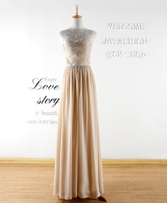 2016 NEW Champagne Long Prom Dress Handmade chiffon Cap Sleeve Champagne Formal Evening Dress Long bridesmaid Wedding  dress Party Dress