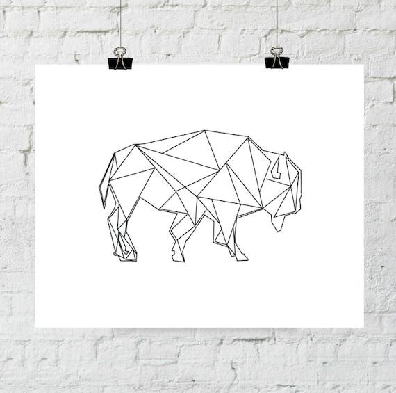 Buffalo Print, Geometric, Modern Print, Buffalo Art, Printable Buffalo, Digital Print, Printable Wall Art, Bison Print, Instant Download