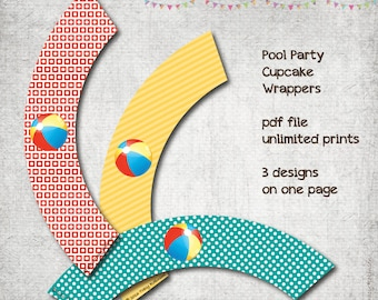 Pool Party - Cupcake Wrappers