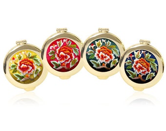 JOYENN] Korea Traditional Peony Flower Embroidery One-touch Gold Compact Mirror + Lucky Pocket