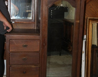 Antique/vintage vanity/mirror/wardrobe combo--Can be painted